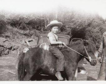 Original Vintage Photograph Snapshot Man by Small Boy Cowboy on Pony 1930s-40s