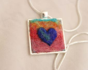 Felted Heart Necklace, Heartscapes  Square Pendant Necklace, Needle Felted Heart Necklace, Silver Heart Necklace #3338