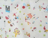 Japanese Cotton Fabric - Hello My Friends - CR4412A Cream, Bear and Friends