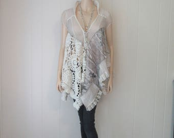 Boho Shabby Tunic Dress Vintage Silk and Lace with Ruffles Romantic Ethereal Ivory Size S-M