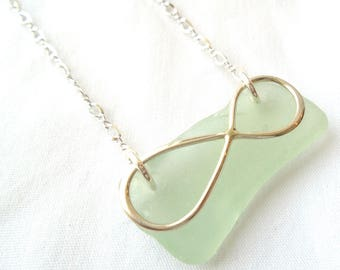 Floating Sea Foam Sea Glass Necklace on Sterling Silver with Infinity Charm