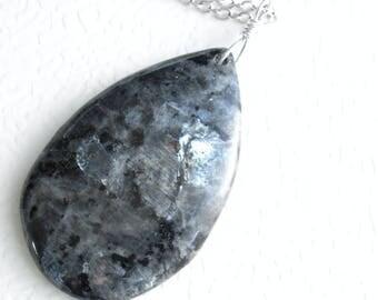 Black Labradorite Pendant, Larvikite Necklace, Grey Stone Jewelry
