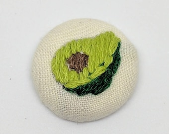 Avocado Button Embroidery Foodie Art