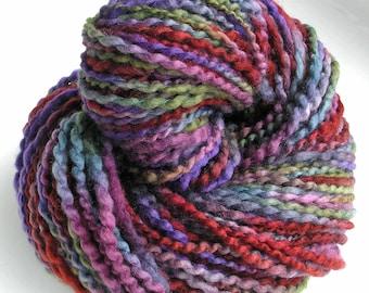 Handspun Yarn Soft BFL Wool Silk Yarn Hand Dyed Yarn Bulky Yarn Art Yarn 169 yards Purple Variegated Colorful - Vineyard