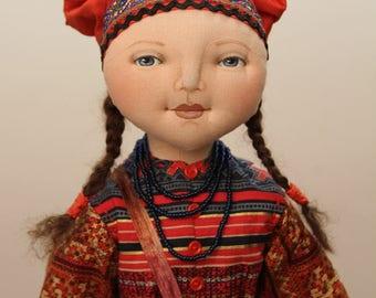 "Hoffman Challenge Doll, 2015 winner - ""Milena"" cloth doll OOAK, by Deanna Hogan"