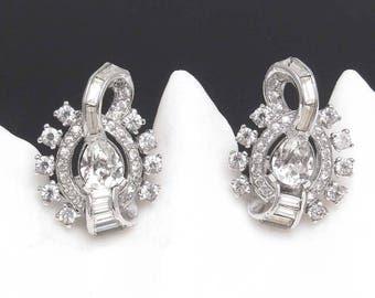 Rhinestone Earrings Vintage Jewelry Deco Style E8060