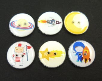 "6 Space Space or Astronaut Buttons. 3/4"" or 20 mm Handmade Buttons."
