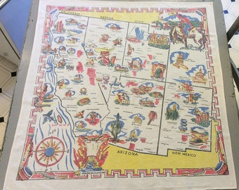 Vintage Souvenir Tablecloth South Western States 1940s Atomic Bomb Testing Cowboys More