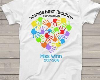 Worlds best teacher hands down shirt for teachers - sweet gift for favorite teacher  mscl-059