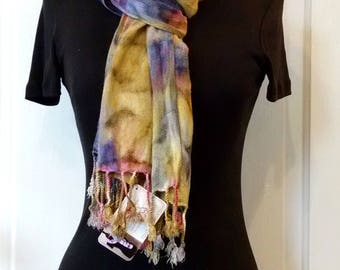 Cranberry Indigo Gold Handpainted Scarf With Fringe, Hand-Painted Wrap, Everyday Scarf, Cozy Rayon Challis, 22x74 inches