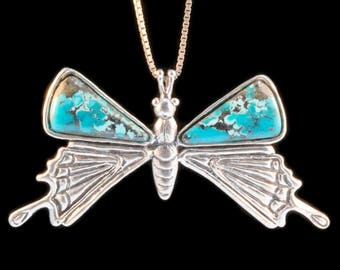 Butterfly Necklace Butterfly Wing Jewelry Jeweled Butterfly Pendant Monarch Jewelry Wing Jewelry Silver Butterfly Turquoise Jewelry