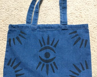 Denim Eye Spy Tote Bag