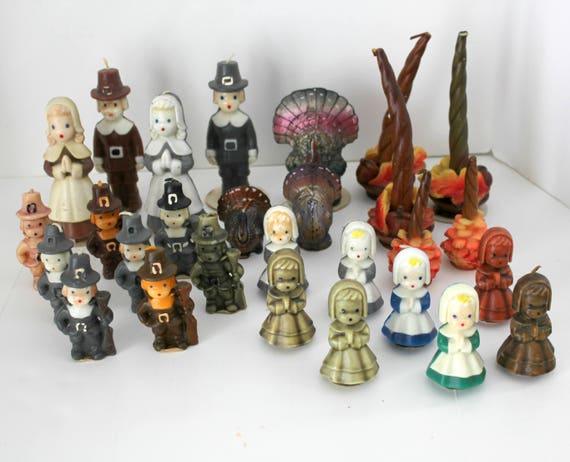 28 Thanksgiving Gurley Candles, Vintage Pilgrims, Turkeys, Pine Cones Decor LOT #4