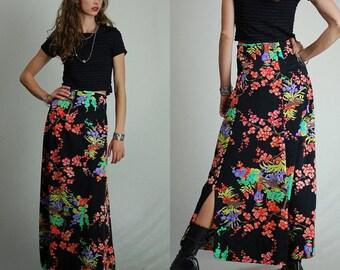 "Maxi Skirt Vintage 70s Black Cherry Blossom High Waist Maxi Skirt (26"" waist)"