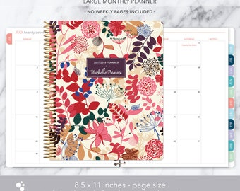 8.5x11 MONTHLY PLANNER notebook | 2017 2018 no weekly view | choose your start month | 12 month calendar | purple pink floral