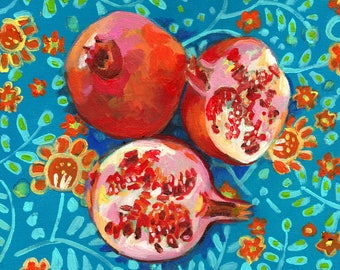 3 Pomegranate on a floral blue and orange fabric - acrylic ORIGINAL painting on canvas - Drawing Still Life - wall art- wall decor