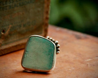 Large Tibetan Turquoise and Sterling Silver Statement Ring - Boho Chic - Rustic - One-of-a-Kind