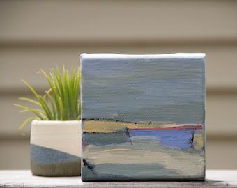 Mini Abstract Landscape Painting, Tiny Painting, Small 4x4 Painting, Mini Art, Miniature, Apartment Decor, Small Art, Mini Painting