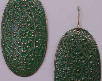 Green enameled pendant earrings on 14k gold ear wires