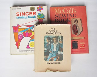 SALE 3 Sewing Books, Vintage 1960's and 1970's Learn How to Sew: Vogue Sewing Book, McCall's Sewing Book, Singer Sewing Book