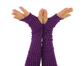 Arm Warmers in Plum Polkadot - Bamboo - Eco Friendly