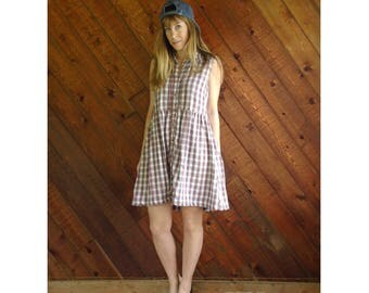 Americana Plaid Cotton Gauze Babydoll Dress - Vintage 90s - SMALL