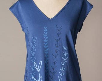 women's shirt, cotton tee, blue cotton top, v-neck top
