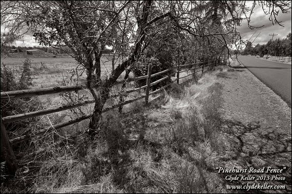 PINEHURST ROAD FENCE, cast shadows, Clyde Keller Photo, Fine Art Print, Color, Signed