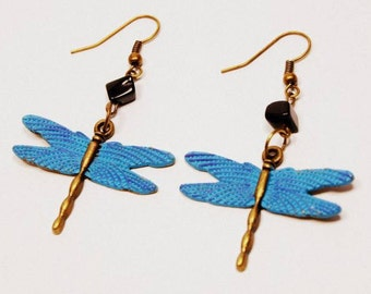 Antique Bronze/Brass Turquoise Dragonfly Boho Style Earrings With S/Obsidian Chip Beads, Vintage Style, Turquoise Hand Painted Metal