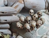 Skull Pins - 10 Head Pins - Miniature - Miniature Skulls - Crafts and Supplies - Halloween - Weddings - 1.57 inches / 4 cm Height