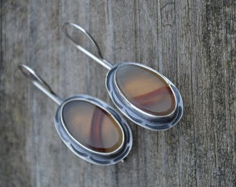 Montana Agate and Oxidized Sterling Silver Earrings