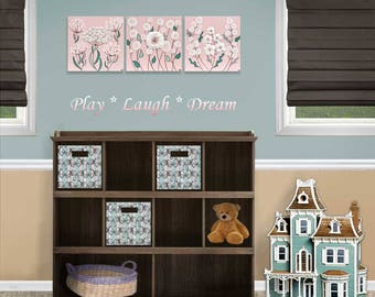 Wall Art Set of 3 for Girl's Nursery Decor - Sculpted Flower Paintings in Pink and Teal - 32x10