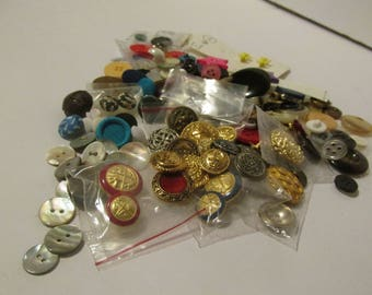 Vintage Button Lot Metal Buttons Fabric Buttons Shell Buttons Etc Over 100 Pieces! Craft Grab Bag of Vintage Buttons 1960s-1980s