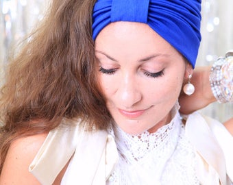 Turban Headband - Women's Hair Band in Royal Blue Jersey Knit - Boho Style Wide Headbands - Lots of Colors