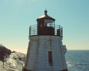 "Travel Photography, Lighthouse, New England, Coastal, Nautical, Sea Cliff, 4x6, 6x9, 8x10 or 8x12. ""Castle Hill Light No.2""."
