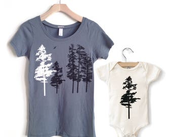 Mommy and Me Shirts, Matching Shirt Set, mom and baby, New Mom gift, Organic Baby, Mother child, Mother son, Mother daughter, Mother Nature