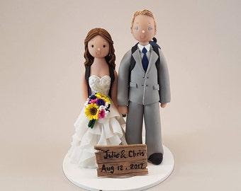 Bride & Groom Customized Hike Theme Wedding Cake Topper