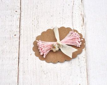 Vintage Pink Pearl Tip Millinery Stamens - Assemblage - Collage - Vintage Scrapbooking Ephemera - Junk Journal - Mixed Media Supplies