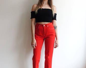 Vintage 90's DKNY Red Cigarette Pants/ 1990s Donna Karan Designer Jeans/High Waisted/ Size 26 4