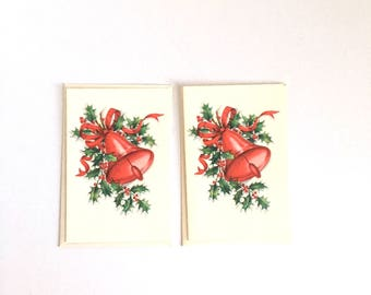 Vintage Christmas Greeting Cards, Two Unused Christmas Cards with Envelopes, Red Bells and Holly
