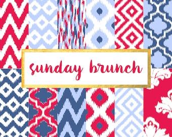 New! Sunday Brunch Ikat Version 3 Digital Paper Pack (Instant Download)