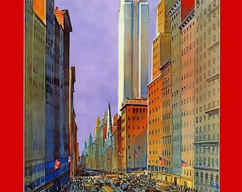 New York Train Poster - 5th Ave - World's Greatest Shopping Street - Downtown New York - Travel by Train - Train Poster - Vintage Decor