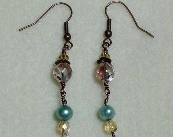 Rose and Mint Earrings