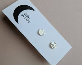 Tiny hammered dot stud earrings, sterling silver