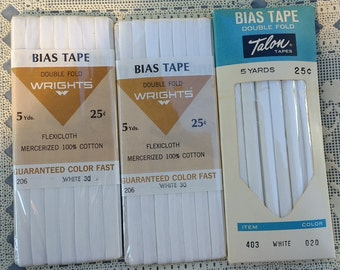 White Bias Tape Double Folded Cotton 15 Yards