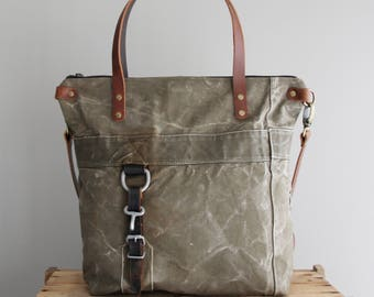 Military Tote Bag Duffel Antique Vintage German Reclaimed Upcycled One of a Kind