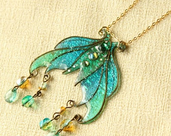 Sea Green Fancy Mermaid Tale Resin Charm Pendant, glittering holo iridescent magical fantasy fairytale jewelry in sea colours