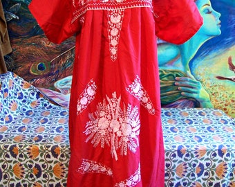 PLUS SIZE, Red Mexican Dress, Embroidered Mexican, Fiesta, Frida Kahlo, size 22