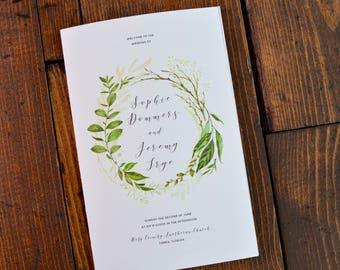 Greenery / Leaves Wedding Program for Jewish Marriage Ceremony, or Catholic Mass