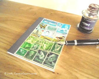 Summer Landscape Bujo - Pocket Planner Notebook, Original Stamp Art Collage